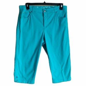 Erika Turquoise 5 Pocket Crop Pants Size 12 P EUC